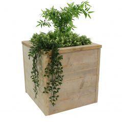 Oud steigerhouten plantenbak met planten 60x60x60