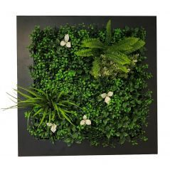 Planten schilderij Jungle met witte bloemen (kunsthaag) 67x67 cm